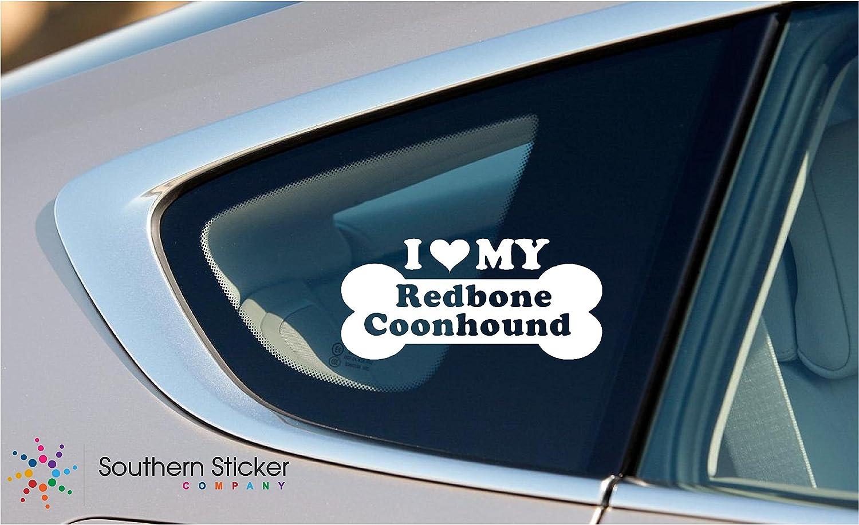 I Love My Redbone Coonhound Dog Bone Puppy Symbol White Vinyl Car Sticker Symbol Silhouette Keypad Track Pad Decal Laptop Skin Ipad Macbook Window Truck Motorcycle