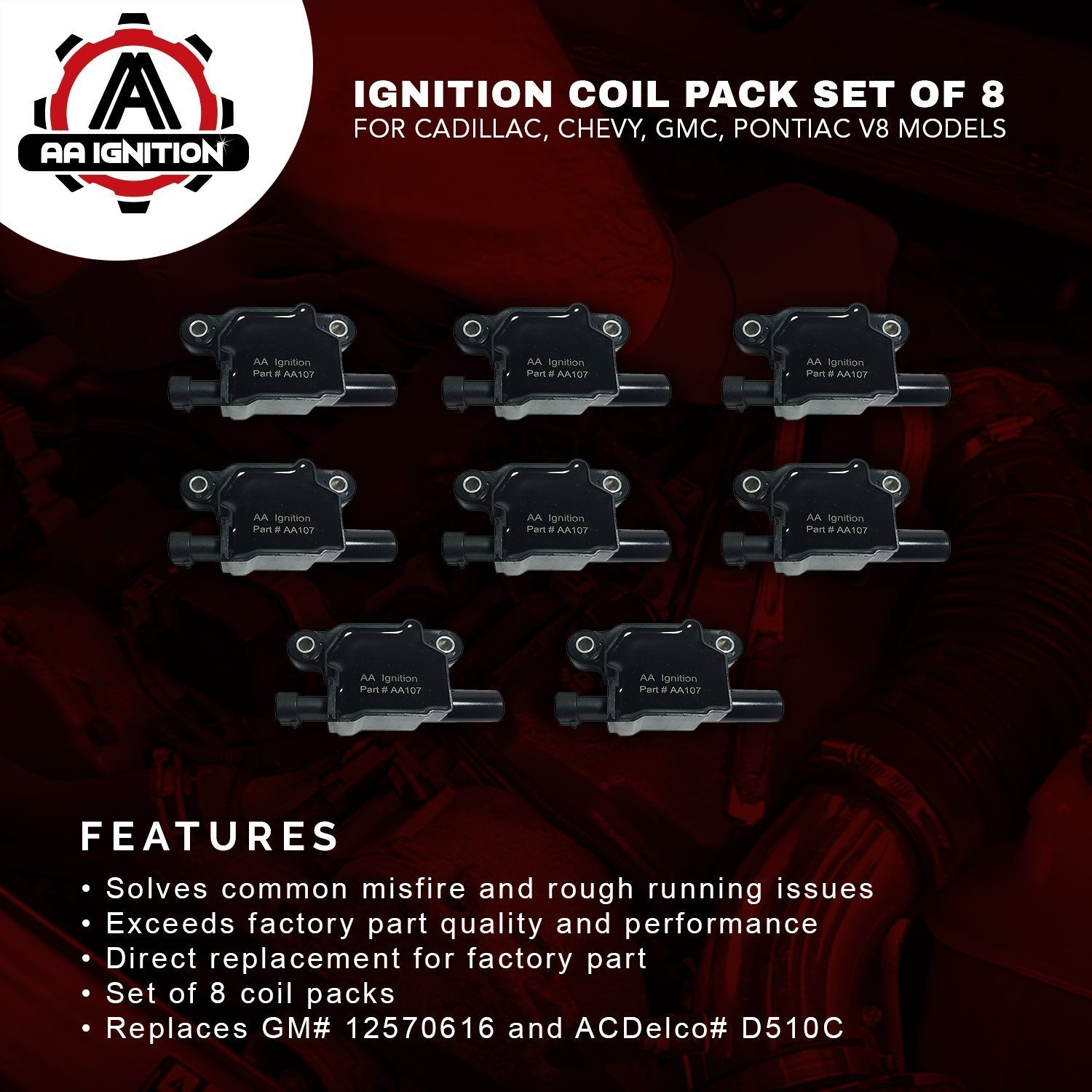 Ignition Coil Pack Set Of 8 Replaces Gm 12570616 Painless Wiring Harness 2005 Envoy Acdelco D510c Cadillac Chevrolet Gmc Pontiac 53l 60l V8 G8 Grand Prix H3 Tahoe