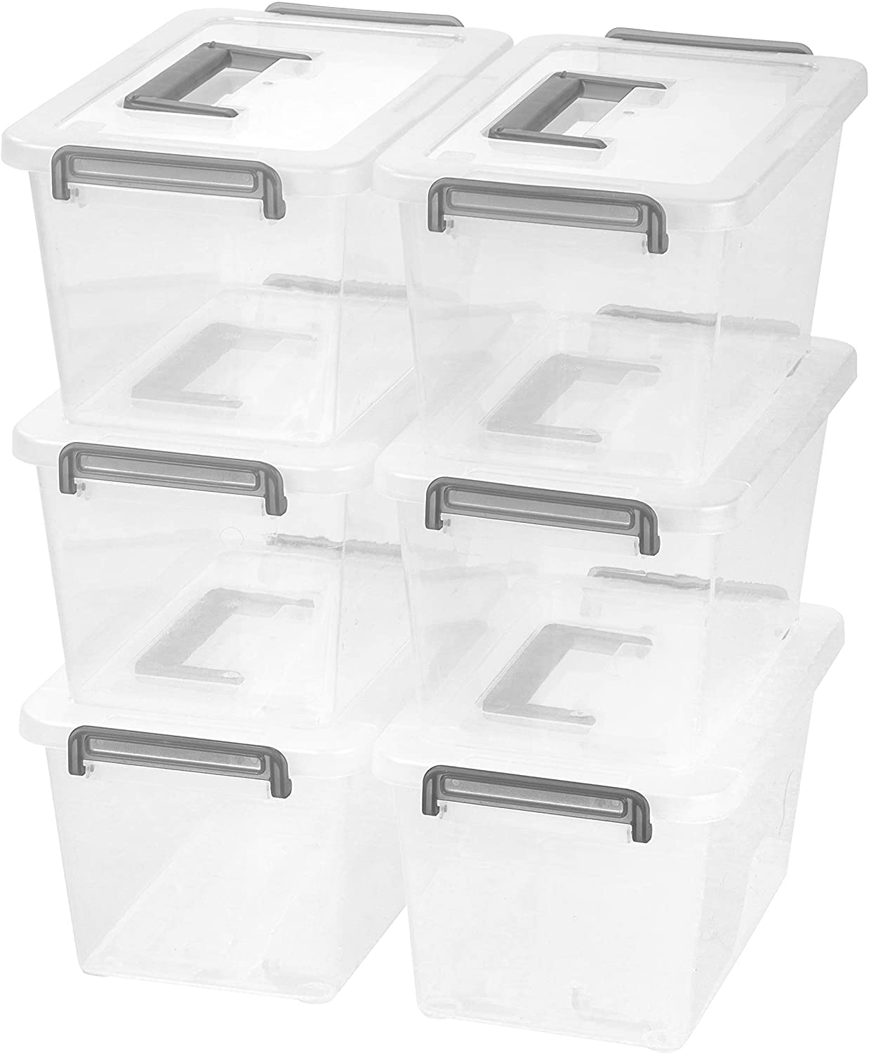 IRIS USA Medium Deep Modular Latching Box - Silver Handle, 6 Pack