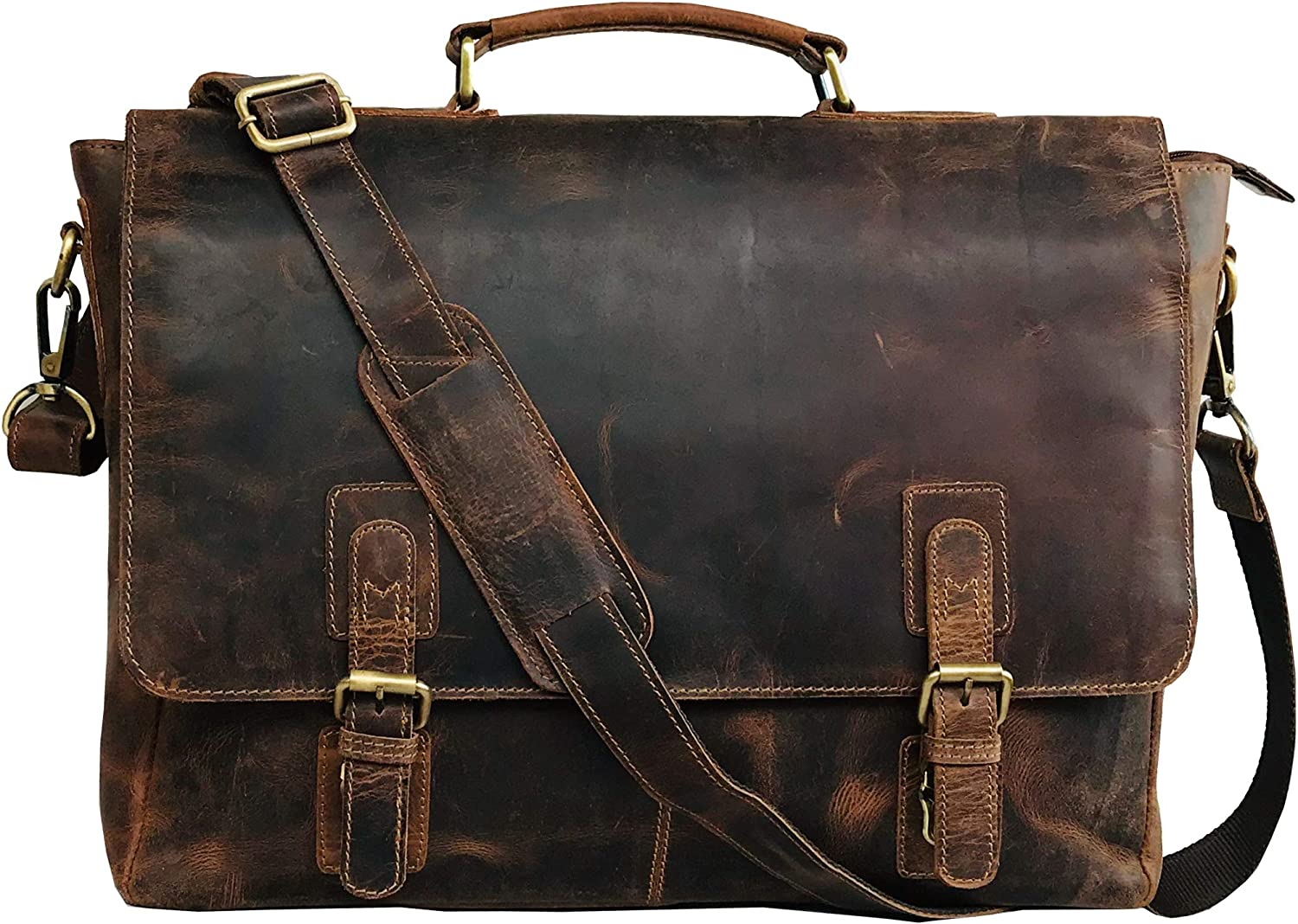 16 Inch Retro Buffalo Hunter Leather Laptop Messenger Bag Office Briefcase College Bag