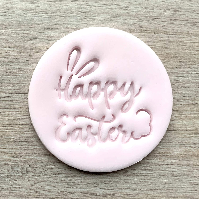 The Cookie Debosser \u2122 Raised fondant or soap stamps Happy Easter Wreath