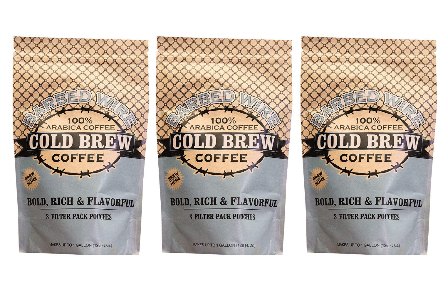 Barbed Wire Cold Brew, Empire Coffee Roasters, 128 Fl. Oz - 3 Pack, 100% Arabica Single Origin Colombian Coffee, Kosher