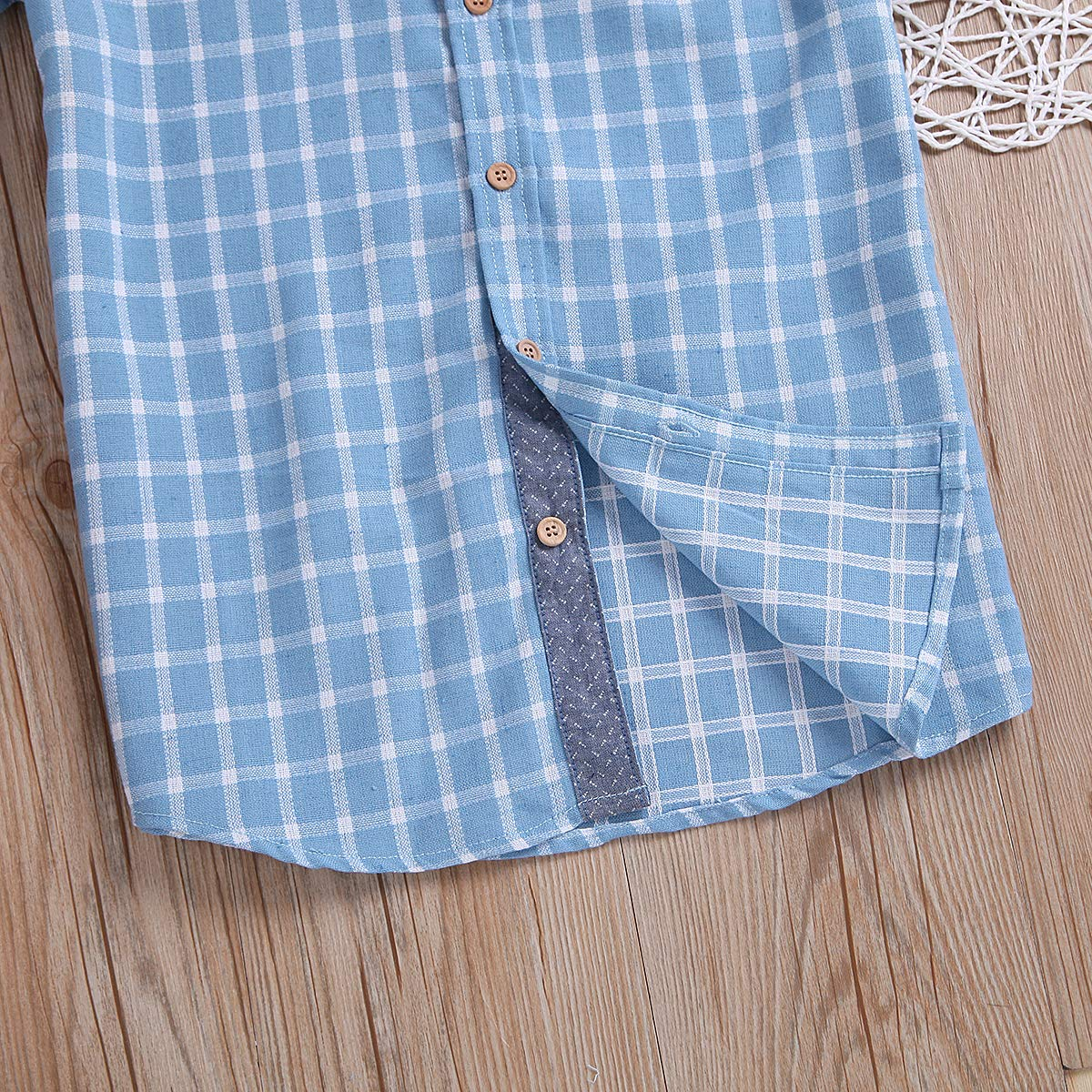 Turuste Fashion Toddler Kids Boys Button Down Shirts Short Sleeve Blue Plaid Shirts with Pocket Party School Summer Clothes
