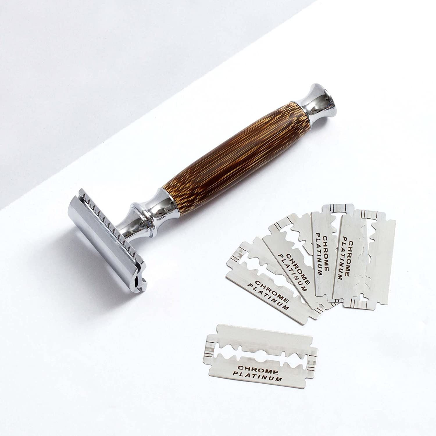 Double Edge Safety Razor with Long Natural Bamboo Handle - Experience A  Better Shave - Includes 5 Blades