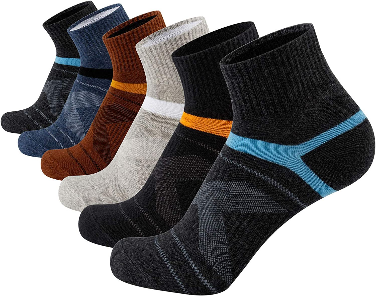 Aserlin Men's Socks Athletic Ankle Socks Performance Cotton Cushioned Colorful Socks for Sports