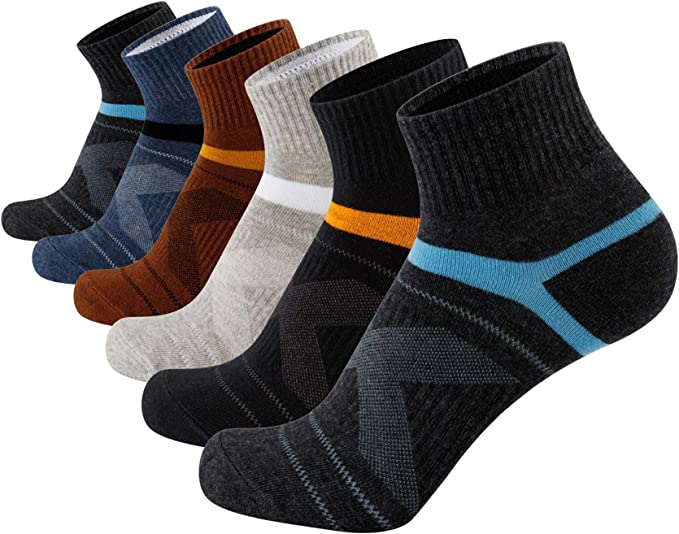 u/&i Mens Performance Cushion Cotton Athletic Quarter Crew Socks 4-Pack//8-Pack