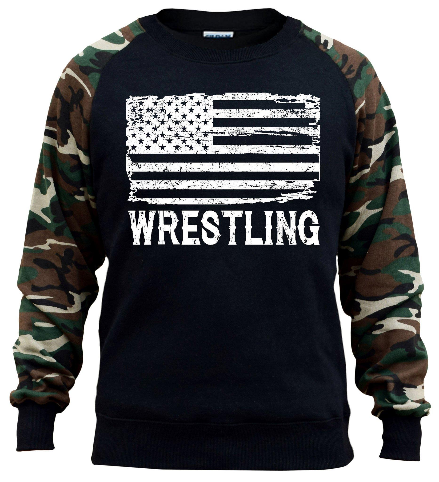 Interstate Apparel Men's Wrestling American Flag Black/Camo Raglan Baseball Sweatshirt X-Large Black