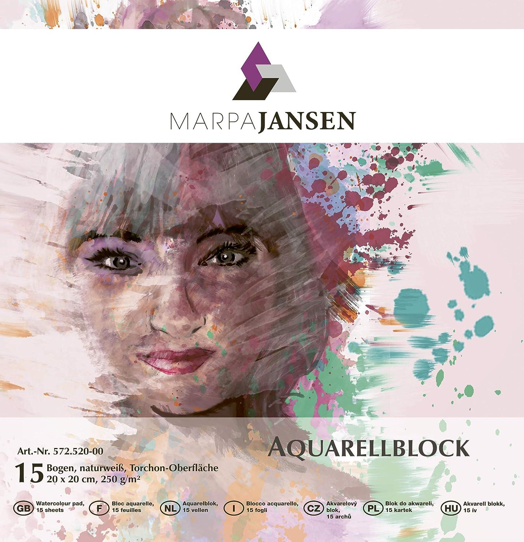 Torchon-Oberfl/äche - 24 x 32 cm, 15 Bogen, 250 g//m/² MarpaJansen Aquarellblock - 4-seitig geleimt naturwei/ß