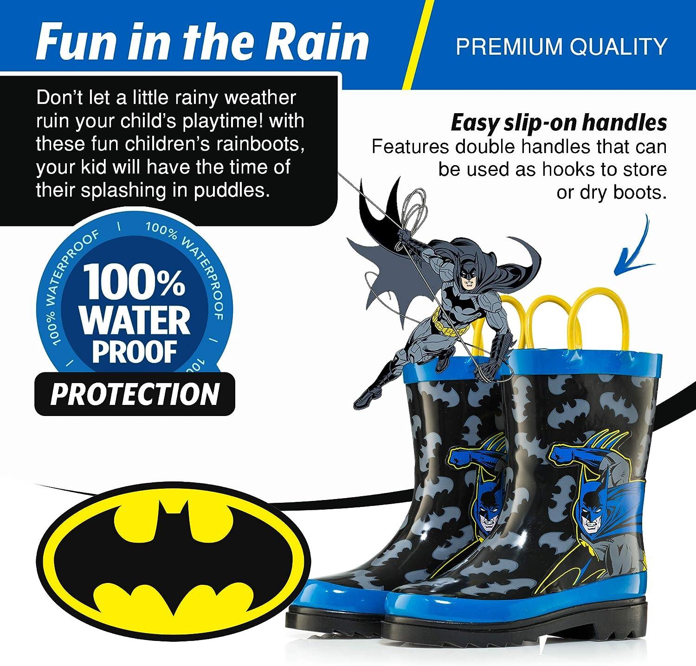 DC Comics Kids Boys Batman Character Printed Waterproof Easy-On Rubber Rain Boots Toddler//Little Kids