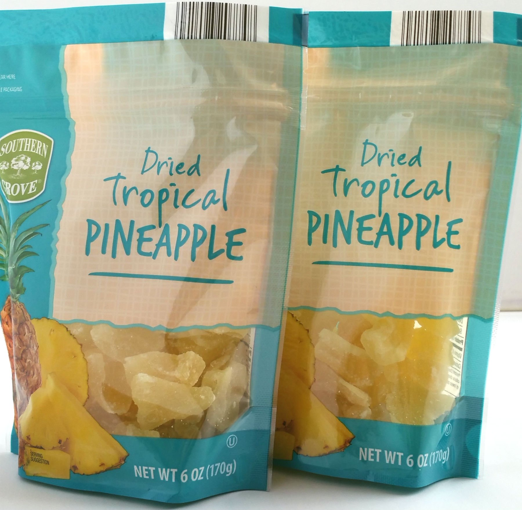 Southern Grove - Dried Tropical Pinapple - Net Wt. 6 Oz. (170g) - Two (2) Pack by Southern Grove - Dried Tropical Pinapple
