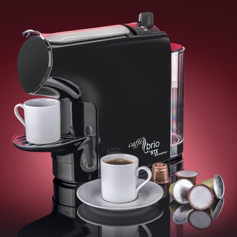 Caff Brio, Nespresso OriginalLine Capsule Compatible Espresso Coffee Maker Machine, STX International Model STX-6000-CB – VTC Dispensing, Auto-Eject Capsule Design, 30 second Brew Eco-Energy Mode