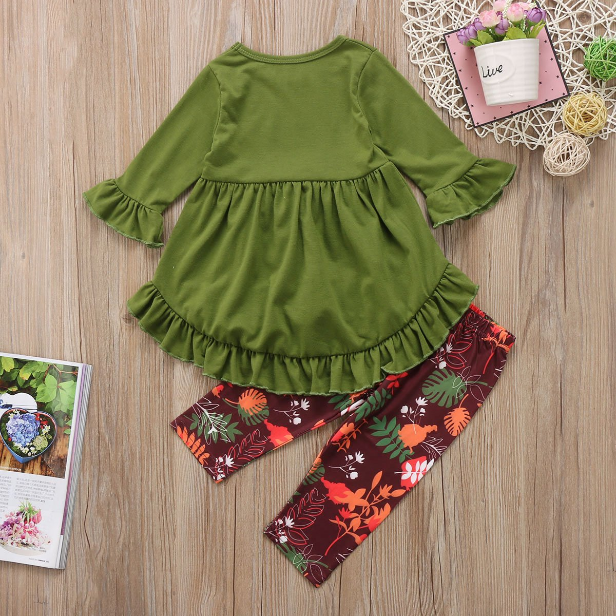 f24c11a8a Amazon.com: Toddler Little Girls Hi Lo Ruffle Flare Tunic Dress Top Floral  Leggings Pants Outfit Set: Clothing