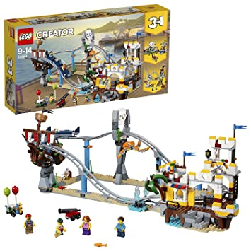 LEGO 31084 Creator 3in1 Pirate Roller Coaster Funfair Skull and Ship Ride  Model Building Set with 4 Minifigures, Seaside Toys for Kids 9-14 Years Old