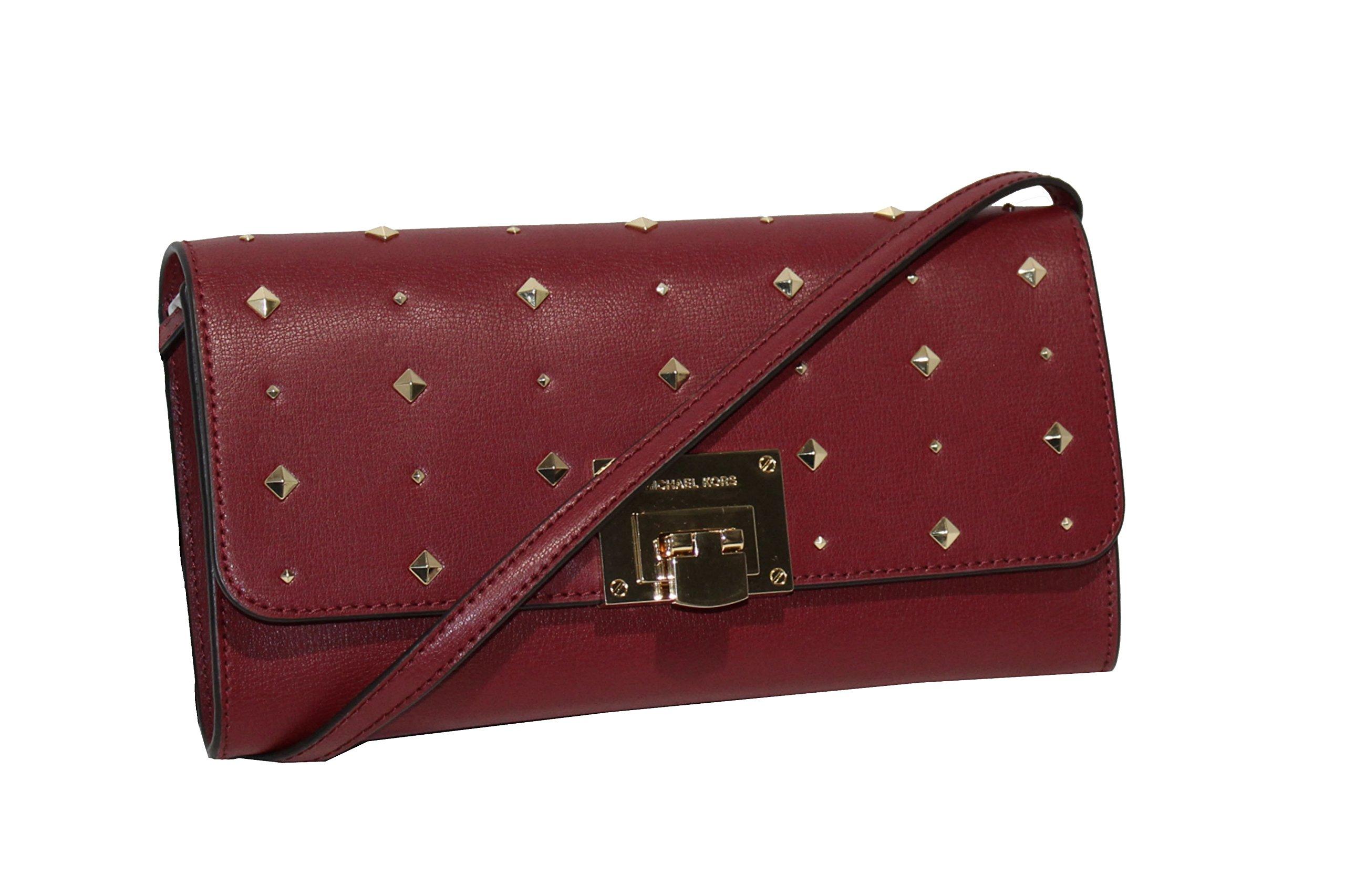 MICHAEL Michael Kors Women's TINA Leather Shoulder Handbag CLUTCH (CHERRY) by MICHAEL Michael Kors