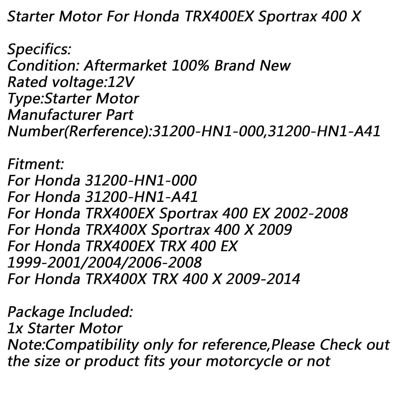 Artudatech Motorrad-Elektro-Startermotor 12 V f/ür Hon da TRX400EX Sportrax 400 EX 2002-2008 TRX 400