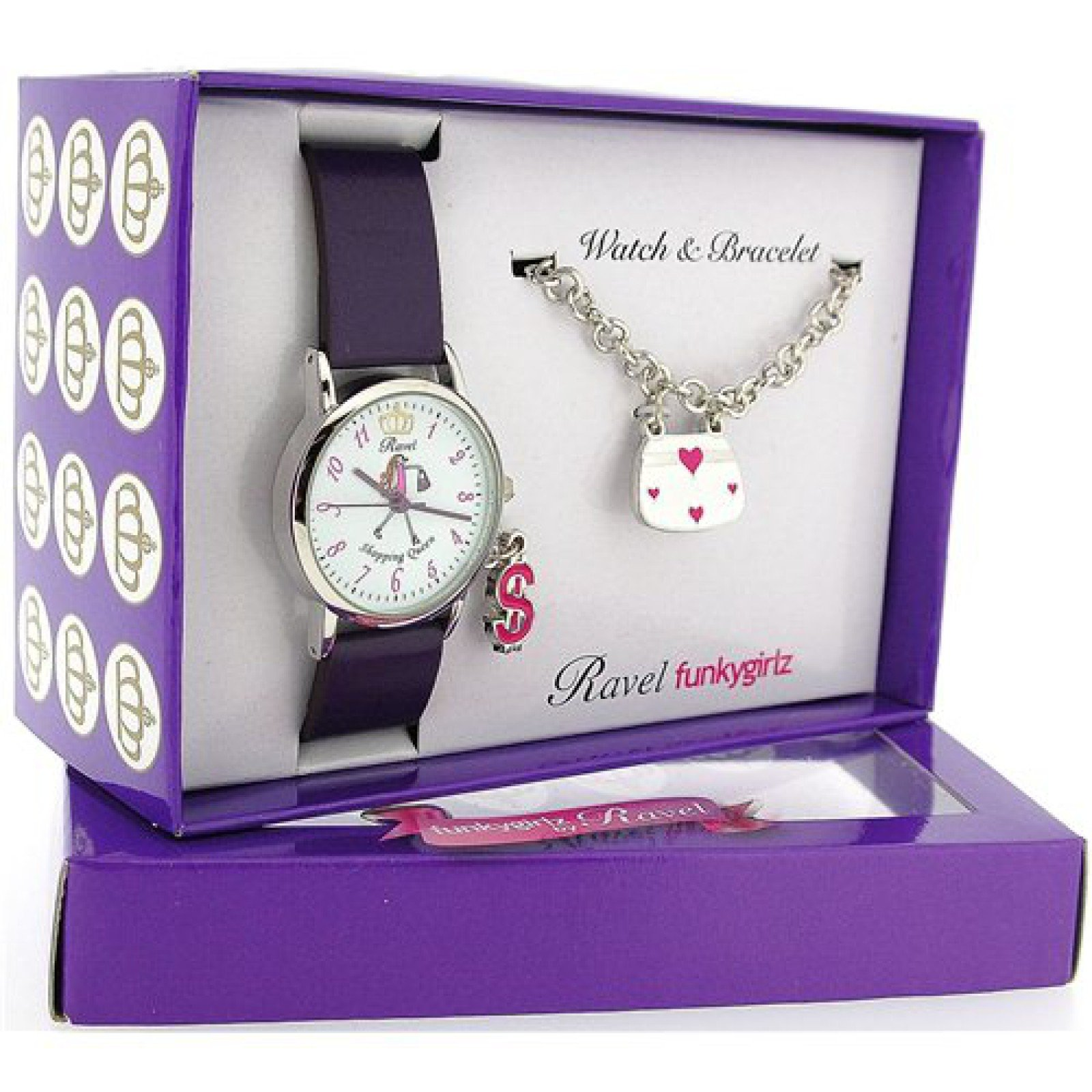 Ravel Girlz Watch and Jewellery Girls Gift set Shopping Queen R3302