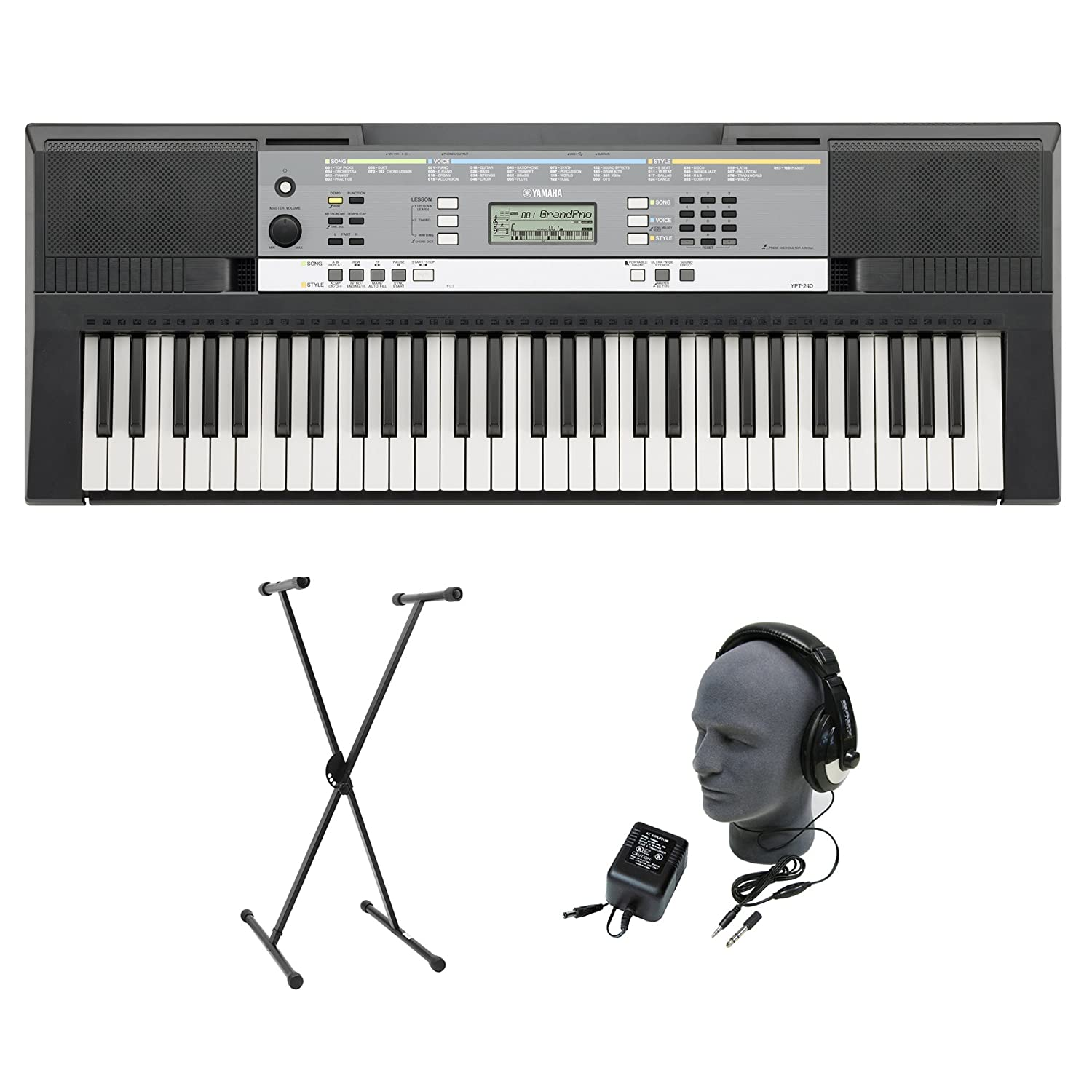 yamaha ypt 240 61 key keyboard pack with headphones