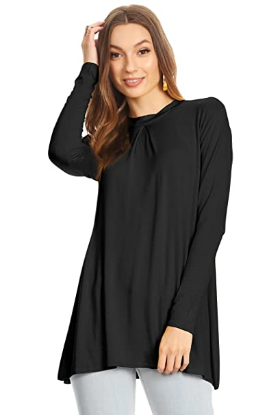 a6084431aec Simlu Black Loose Tops for Women Black Pleated Top Black Tunic Black Mock  Neck Top,