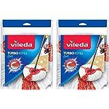 Vileda Easy Wring & Clean Turbo 2en 1Mopa Microfibra cabeza, Rojo Pack de 2