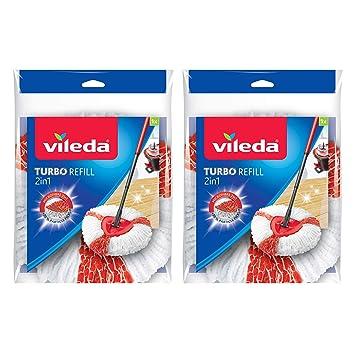 Vileda Easy Wring & Clean Turbo 2 en 1 Mopa Microfibra cabeza, Rojo Pack de