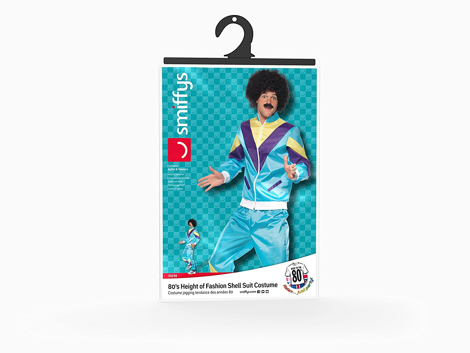 Amazon.com: Smiffys Mens 80s Height of Fashion Shell Suit Costume, Jacket and pants, Back to the 80s, Serious Fun, Size L, 39298: Clothing