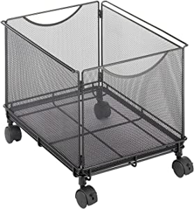 Rolling File Cabinet for Letter Size Files, File Folder Cube Cart on Wheels, Durable Steel Mesh Mobile Filing Storage Caddy with Casters, Mesh Office File Letter Cabinet Organizer