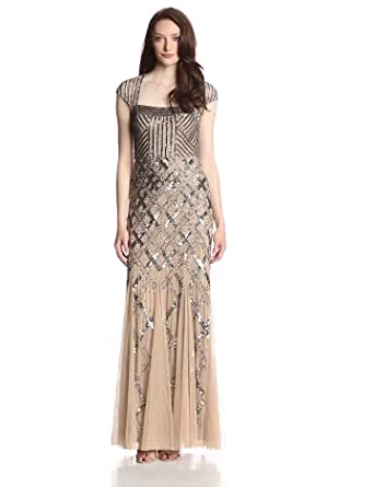 14e346e349c Adrianna Papell Women s Long Beaded Square Neck Dress With Cap Sleeves