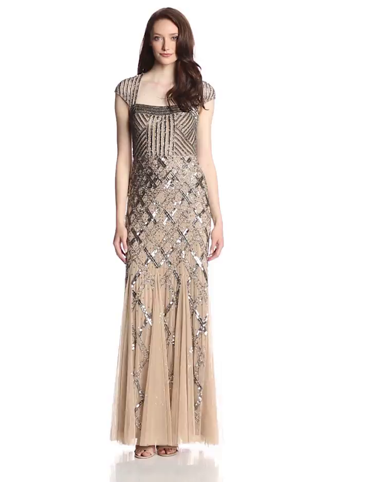 f55a845b2ce2 Amazon.com  Adrianna Papell Women s Long Beaded Square Neck Dress With Cap  Sleeves