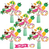 Hawaiian Party Centerpiece Sticks Set 28 Pieces Tropical Table Toppers Flamingo Pineapple Palm Party Decorations Supplies for