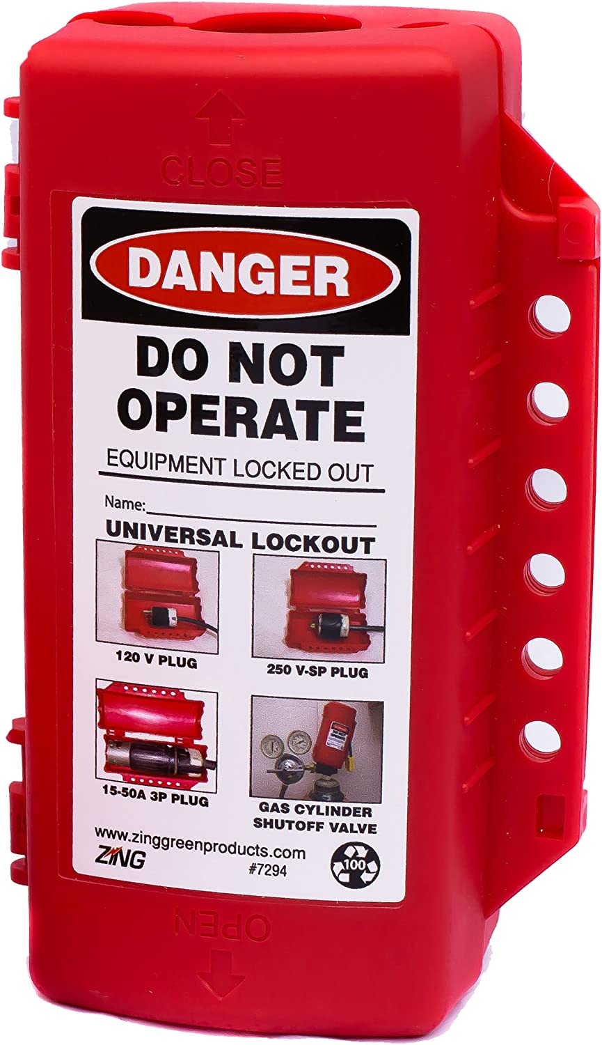 ZING 7294 RecycLockout Lockout Tagout, Universal Plug/Forklift/Cylinder Lockout, Recycled Plastic