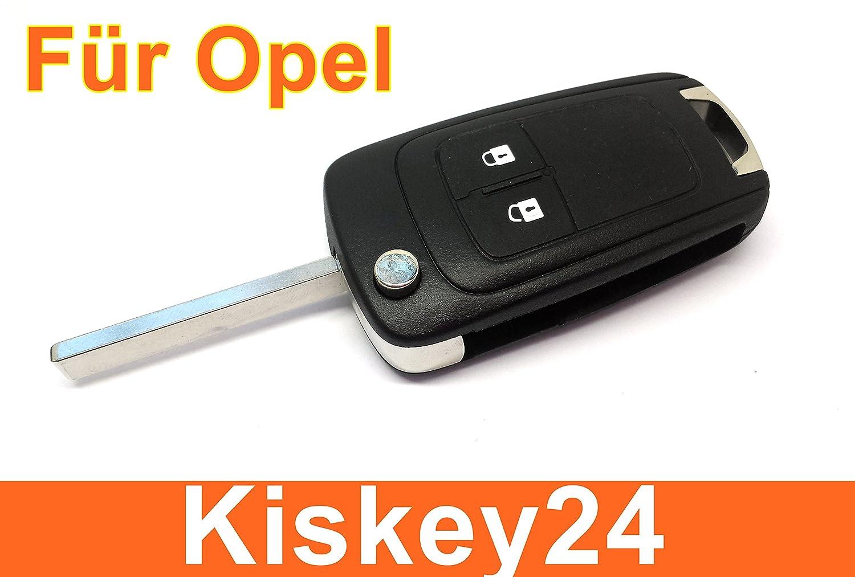 KIS® Boîtier de rechange à 2 boutons pour clé de voiture pliante Opel Astra J Insignia Corsa E Meriva B