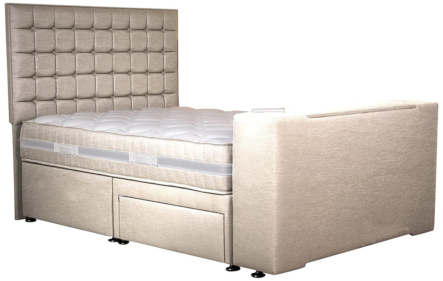 Sweet Dreams Image Classic Luxury Divan Double TV Bed with 2-Storage ...