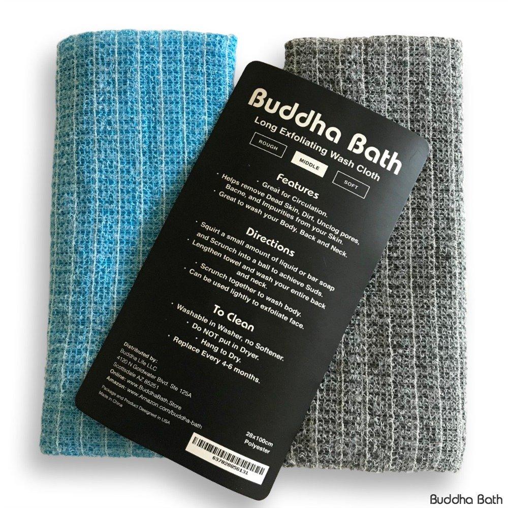 2 Pack - Buddha Bath Body Premium Exfoliating Asian Shower Washcloth Towel -EXFOLIATING