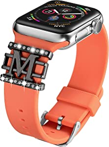 Compatible with Apple Watch Band Silicone 38mm 40mm,DMMG Apple Watch Band Accessories Decorative Rings Designed Pattern Watch Band Women,Replacement Apple Watch Band/iwatch Series 4 3 2 1(Nectarine)