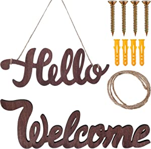 2 Pieces Hello Cutout Sign and Welcome Wood Sign Hanging Wall Decor Words Sign Art for Front Door Rustic Home Gallery Wall Decorations, 12 x 7 x 0.3 Inch