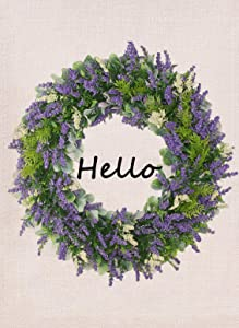 Furiaz Hello Wreath Garden Flag, Home Decorative House Yard Outdoor Small Flag Fall Lavender Garland Decor Flower Sign Double Sided, Autumn Farmhouse Decorations Seasonal Outside Burlap Flag 12 x 18