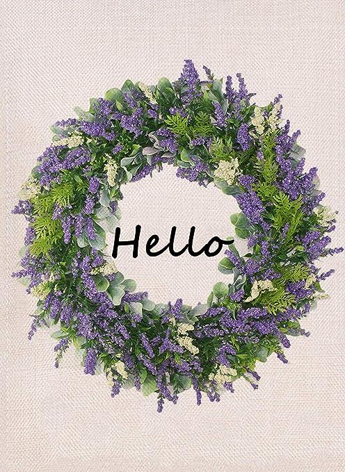 Amazon Com Furiaz Lavender Wreath Hello Garden Flag Spring