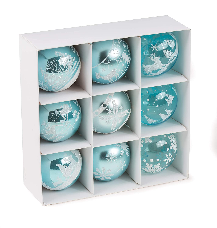 Durchmesser 80 mm argent/é CREOFANT Lot de 9 Boules de No/ël incassables en Plastique Transparent /Ø 80 mm