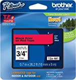 Brother Labelling Tape for Indoor and outdoor use, 18mm, Black Print on Red Tape (TZe441)