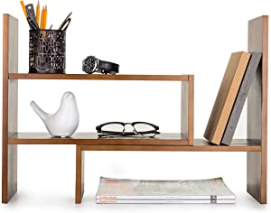 Adjustable Wood Desktop Storage Organizer Display Shelf Rack, Counter Top Bookcase, Brown