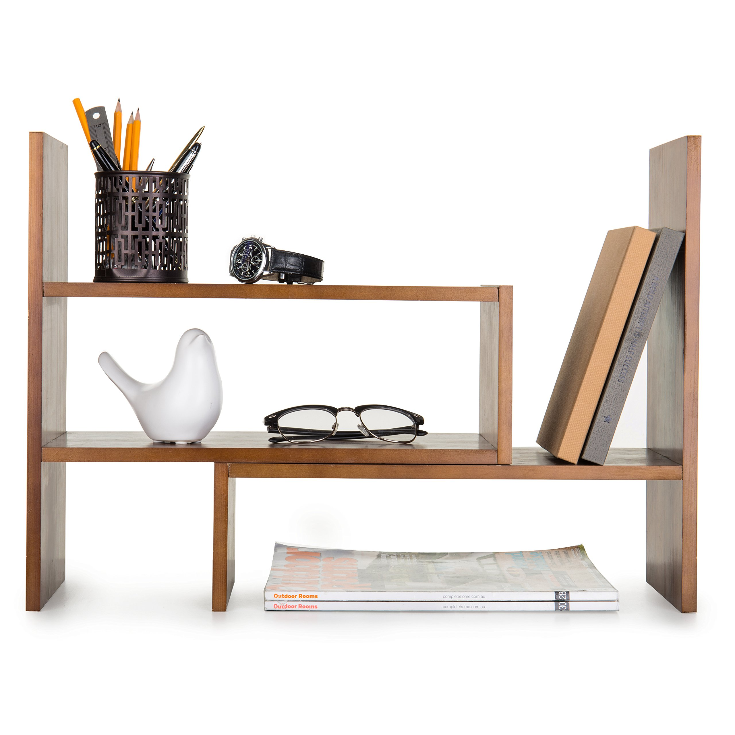 Adjustable Wood Desktop Storage Organizer Display Shelf Rack, Counter Top Bookcase, Brown by MyGift