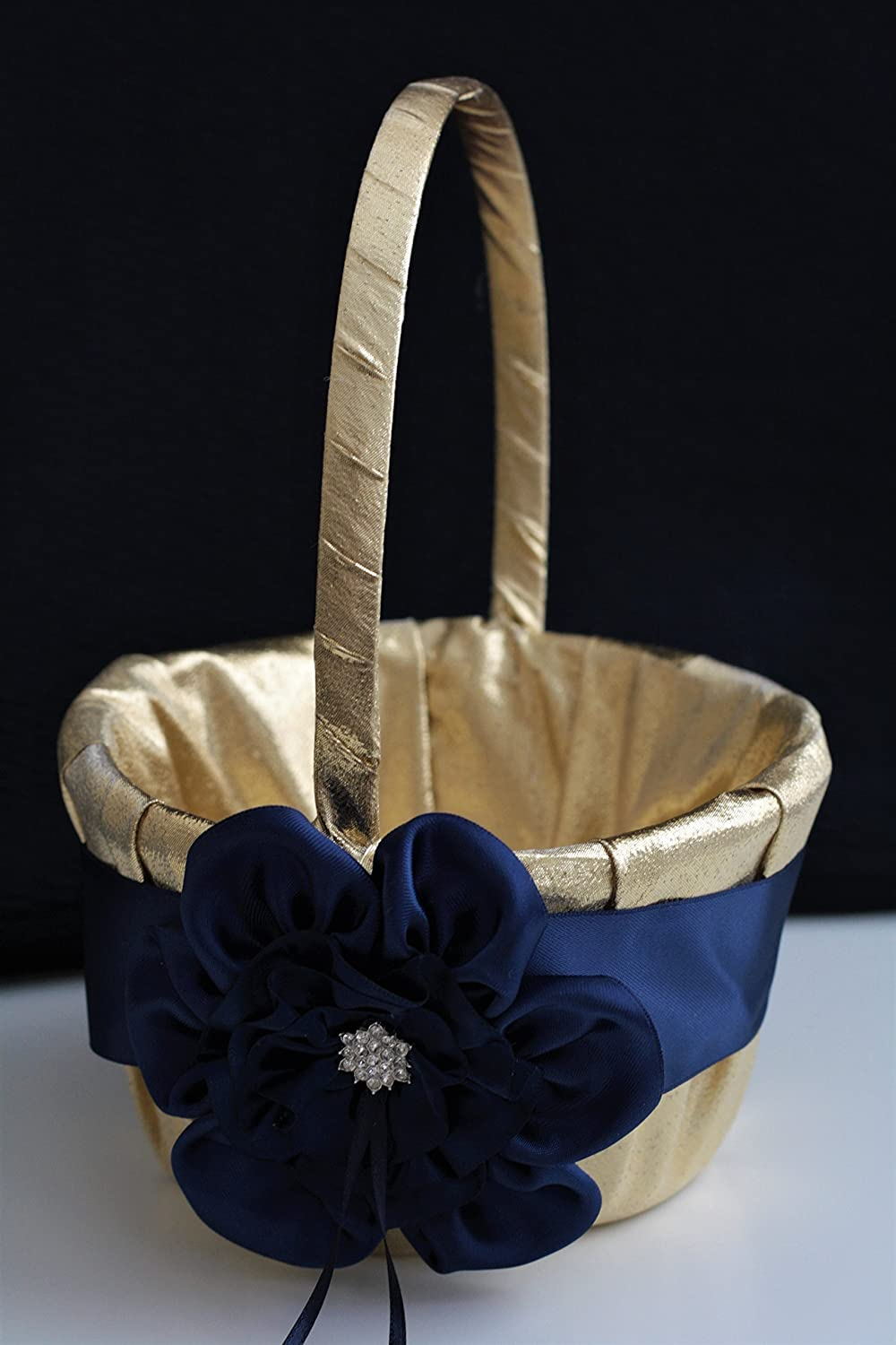 63c618db69429 Amazon.com: Gold Navy Blue Wedding Flower Girl Basket/Lace Gold Wedding  Basket/Lace Wedding Basket: Handmade