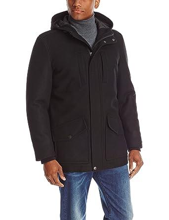 Tommy Hilfiger Men's Melton Wool-Blend Full-Length Hooded Jacket ...
