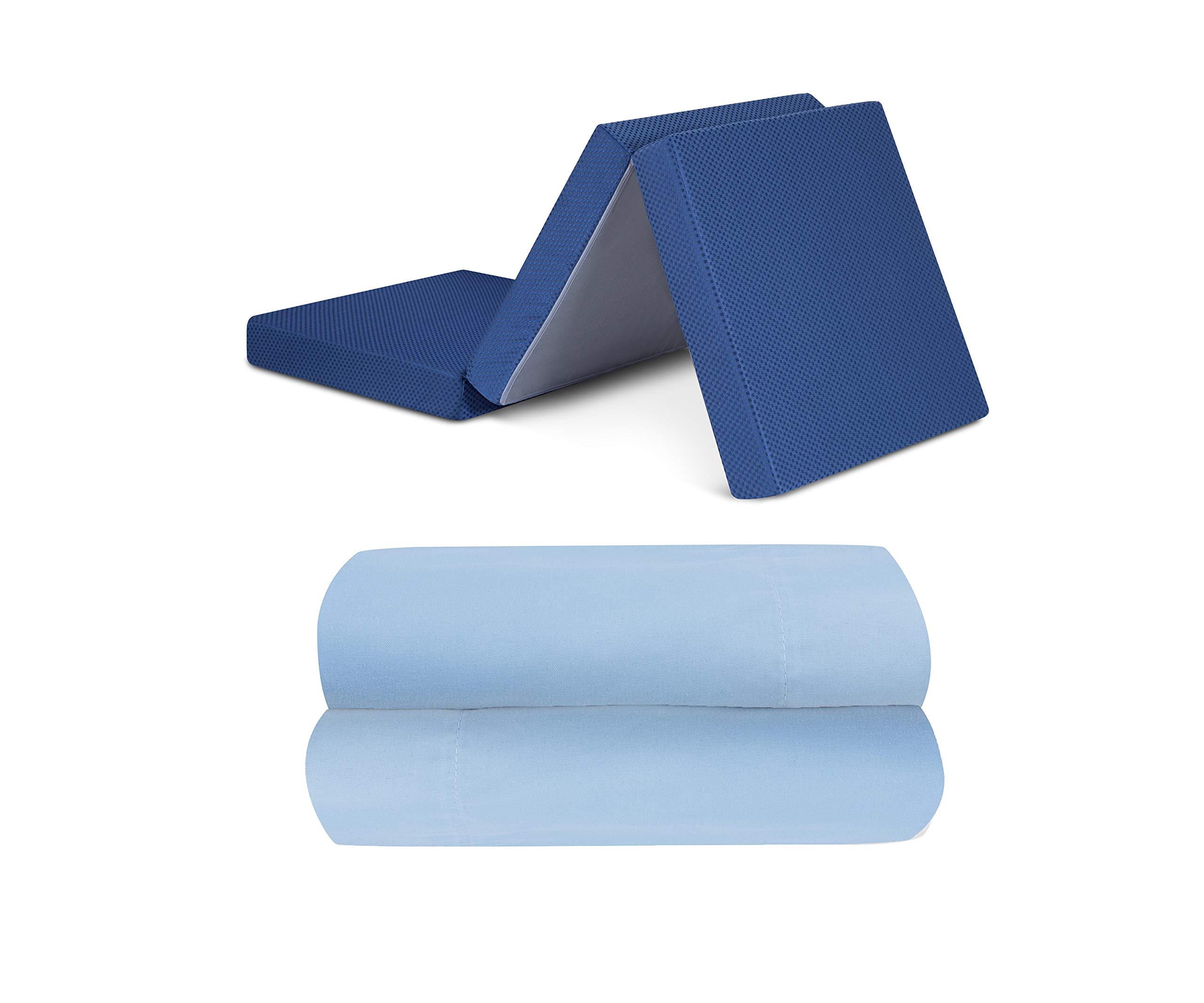 GranRest 4'' Tri Folding Memory Foam Mattress, Blue Bundle with Mainstays Microfiber Basics Sheet Set, Twin Size, Light Blue