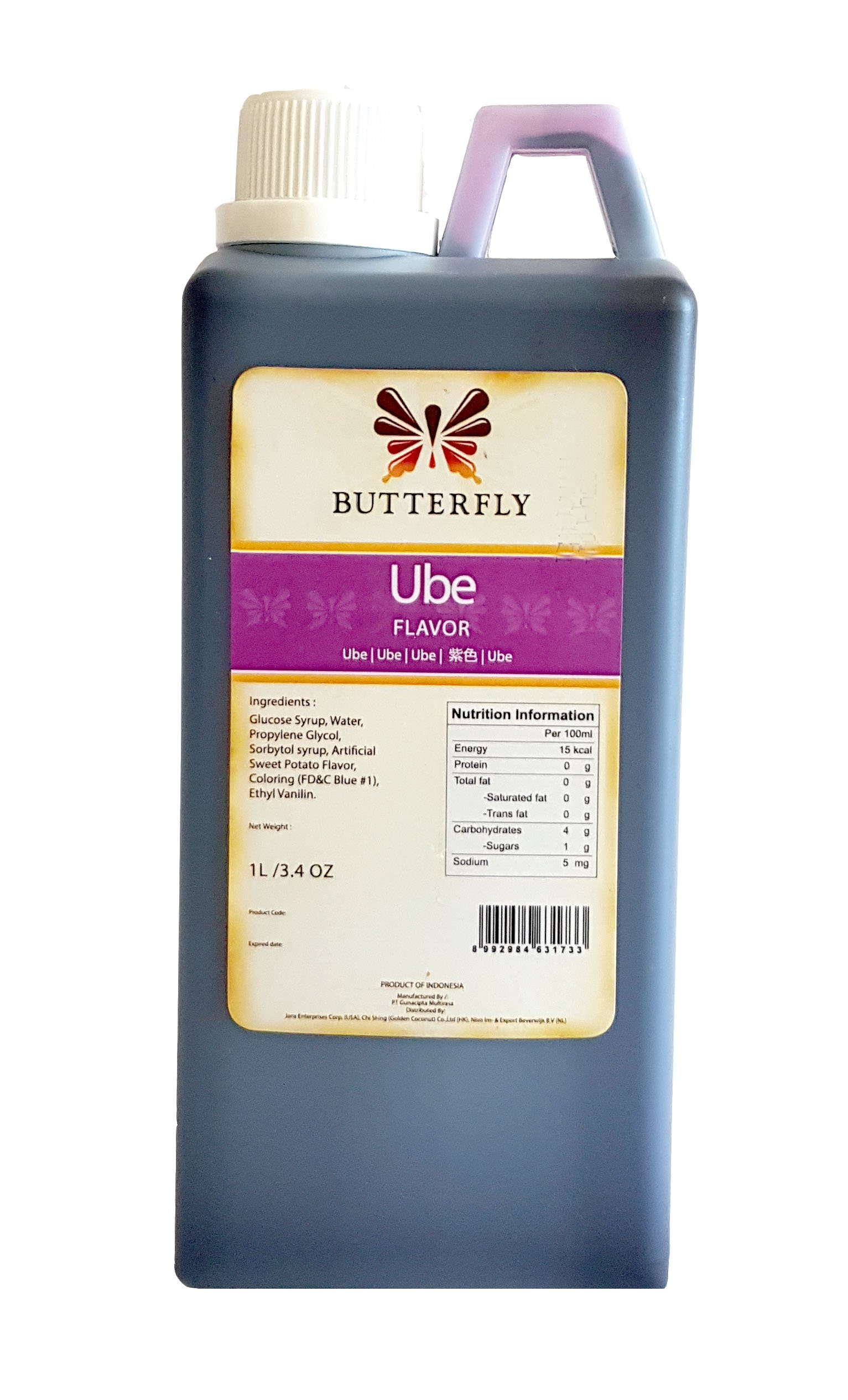 Ube Purple Yam Flavoring Extract Restaurant Size by Butterfly 1 Liter, 33.8 Ounce by Ube Butterfly (Image #2)