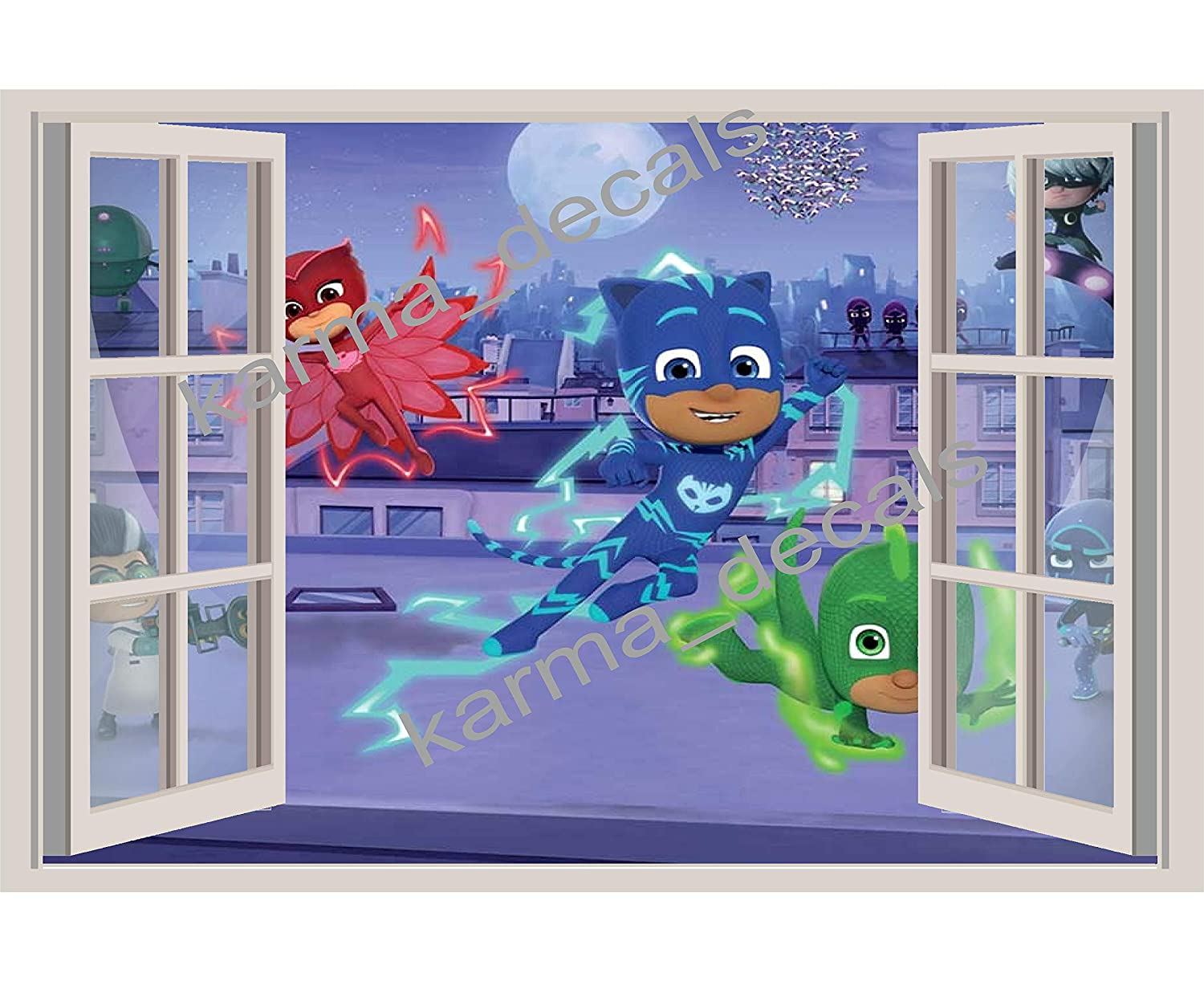 Amazon.com: Pj Masks kids bedroom 3D Window View Decal Graphic WALL STICKER Art Mural 18