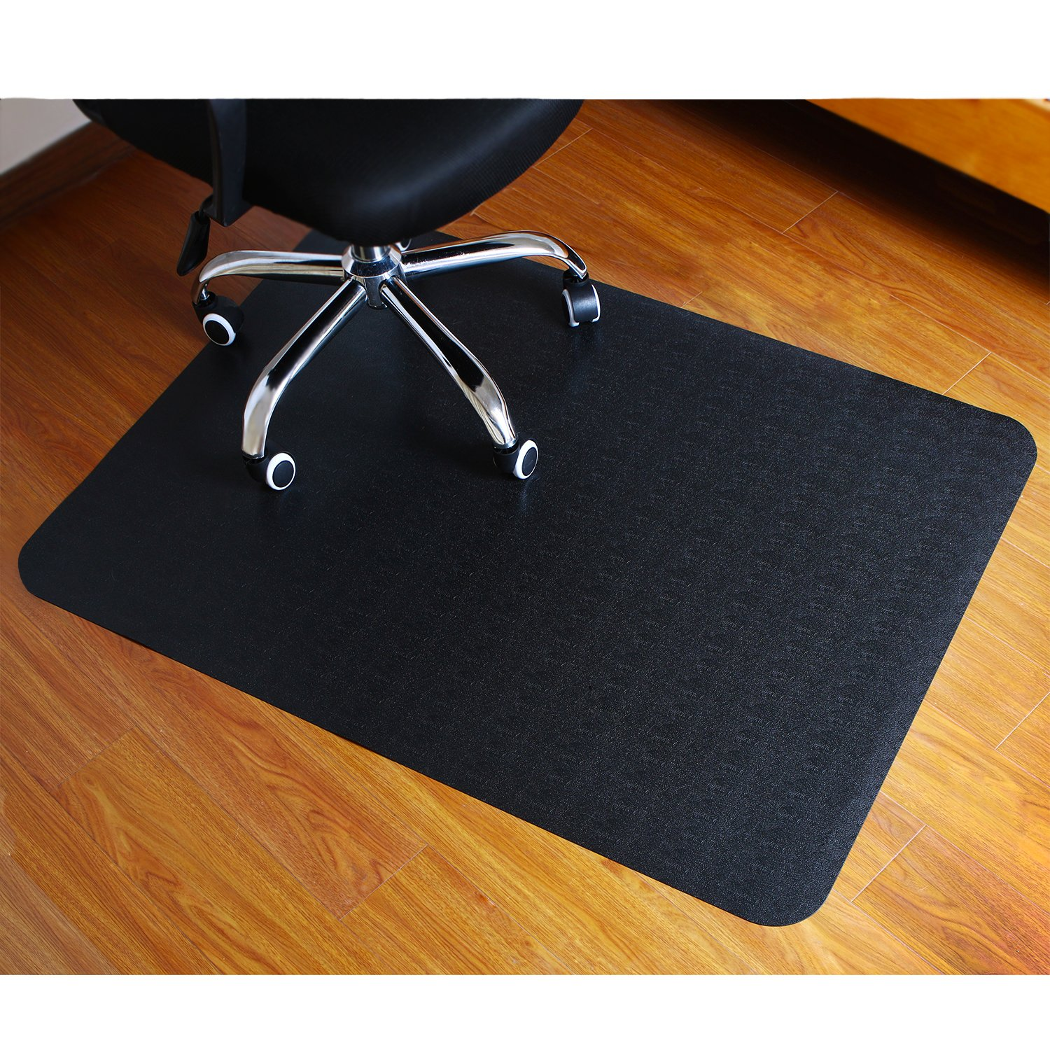 Polytene Office Chair Mat, 47''x35'',Hard Floor Protection Only with Rectangular Shaped Anti Slide Coating on the Underside, 1.3mm Black