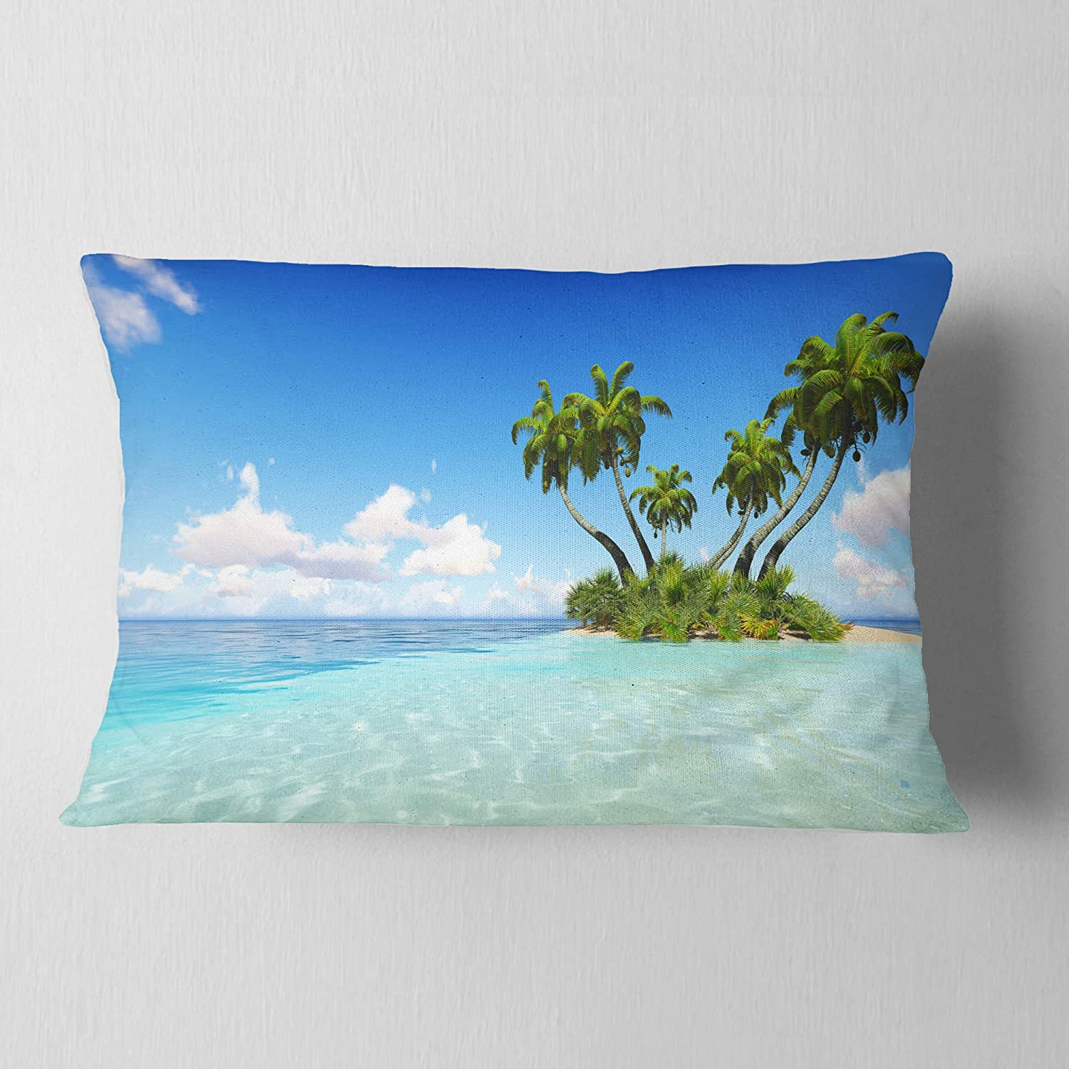 Insert Printed On Both Side in Designart CU9894-12-20 Corals Island Under Blue Sky Seascape Lumbar Cushion Cover for Living Room x 20 in Sofa Throw Pillow 12 in