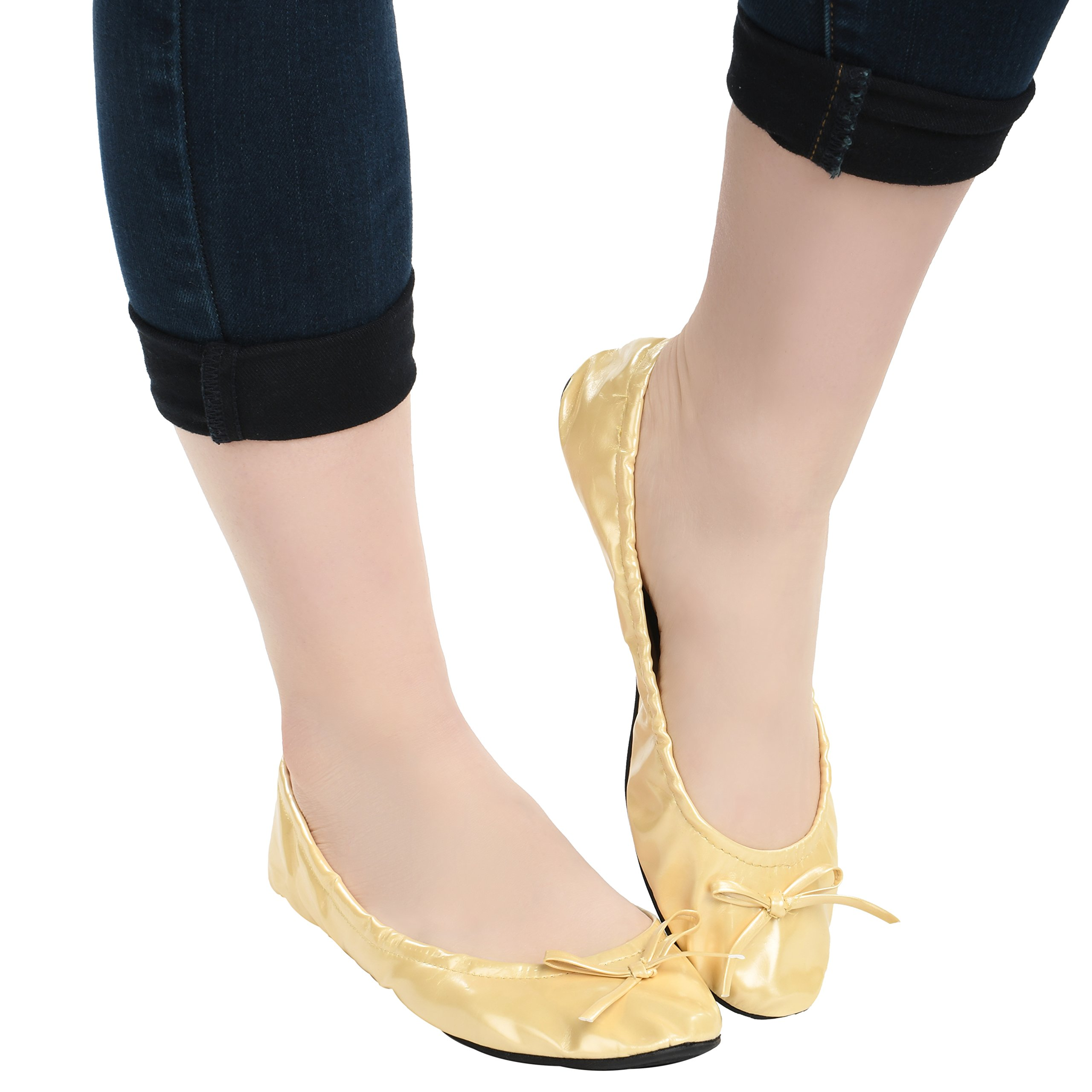 Island Wear Women's Foldable Ballet Flats Travel Shoes with Carrying Clutch Case (Beige, Medium)