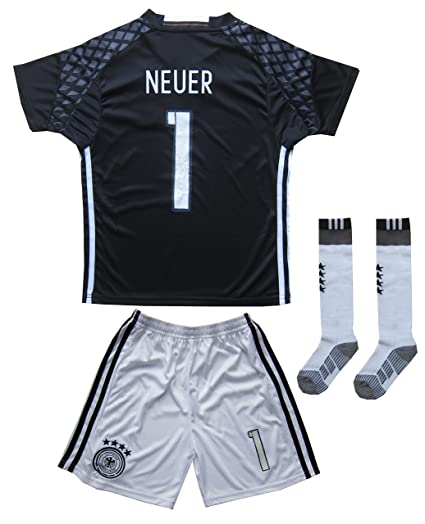 ad3d1102d08 KID BOX Germany Neuer  1 Goalie Football Soccer Kids Goalkeeper Jersey  Short Socks Set Youth